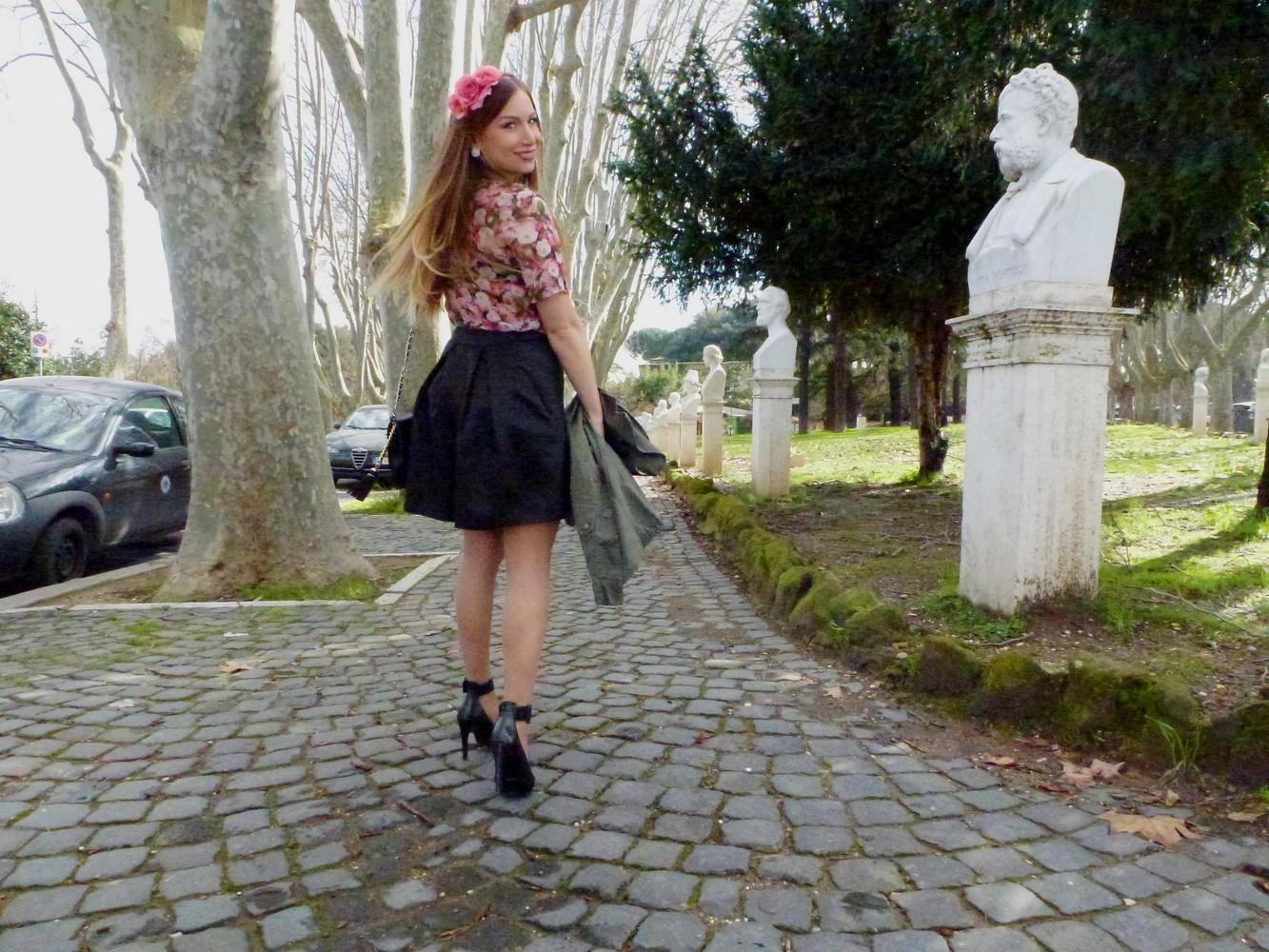 chemisier à fleurs zara jupe monshowroom headband forever21