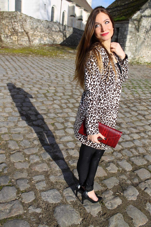 veste longue leopard