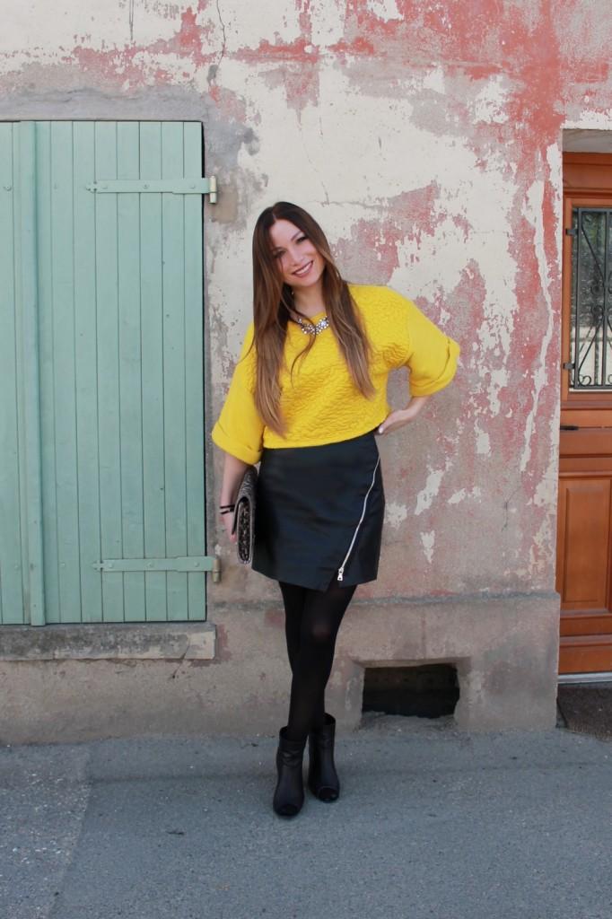 h cuir m cuir bottines jupe haut ouverte noir zara jaune nOk0Pw