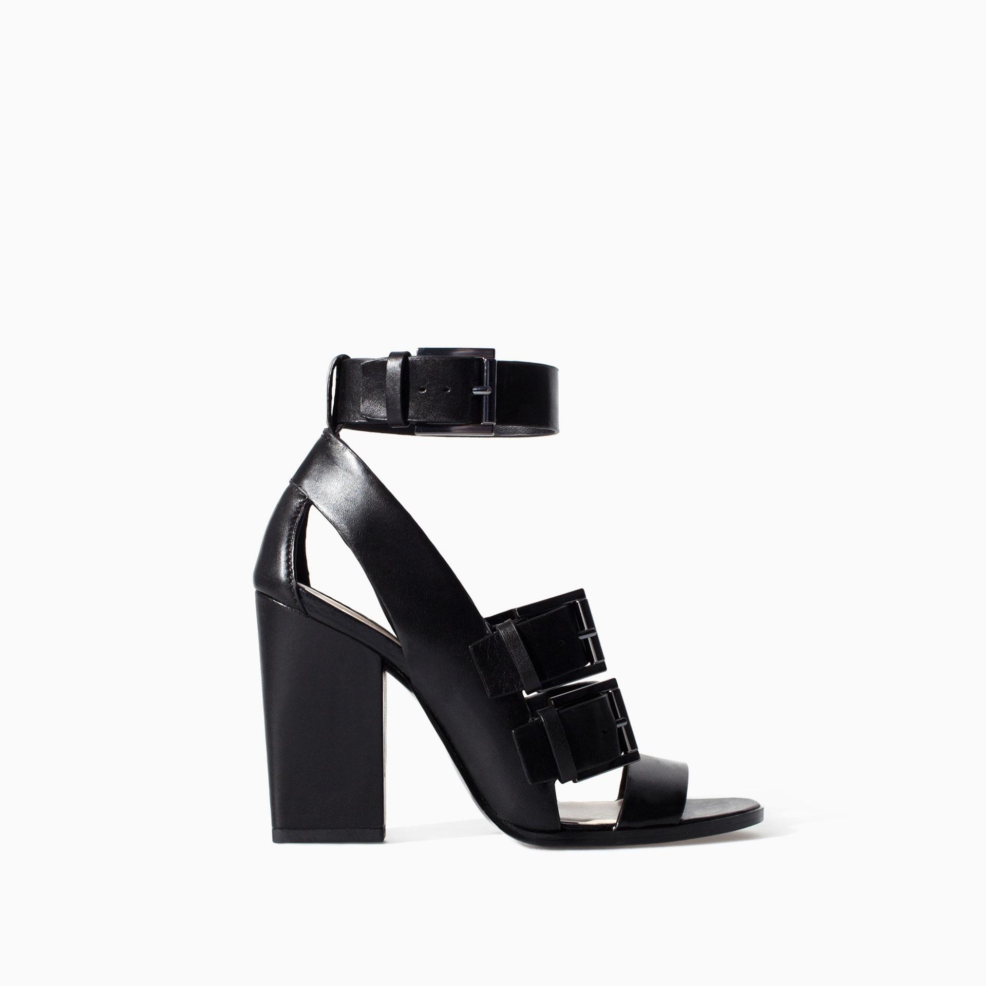 sandales à brides style bottines en cuir noir zara talon carré