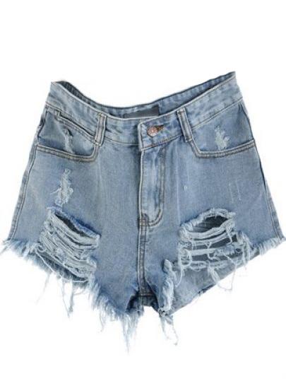 short en jean taille haute destroy sheinside style 501