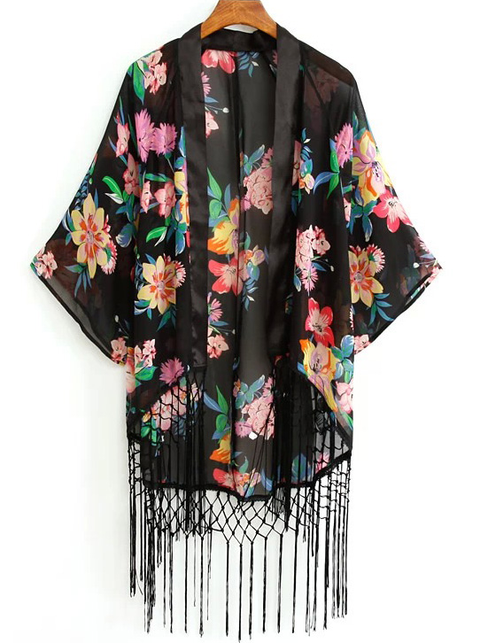 kimono à fleurs et franges sheinside