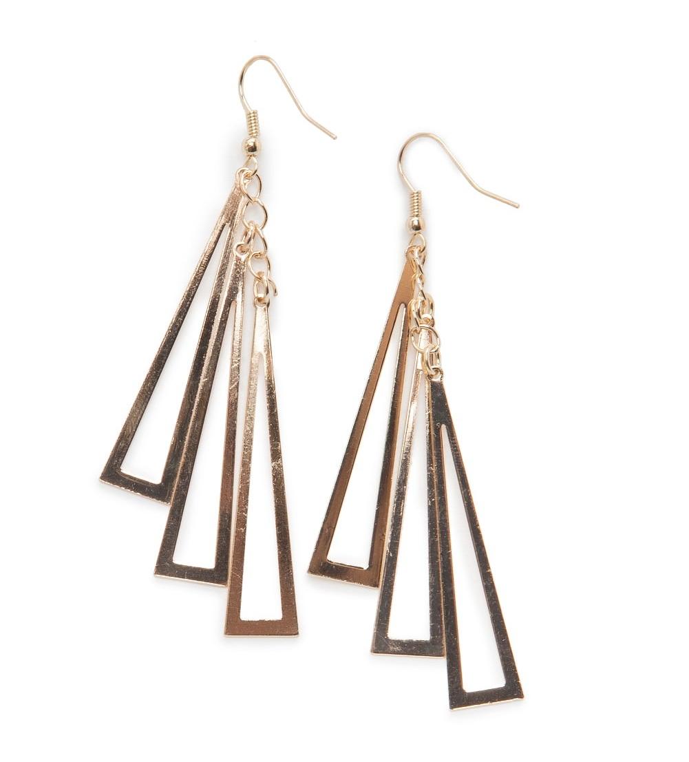 boucles d'oreille pendantes triangle or mango