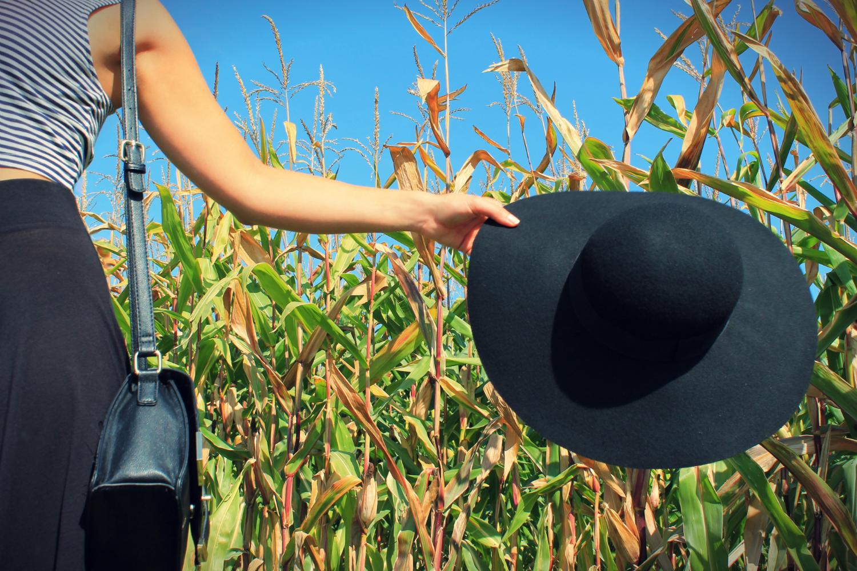 chapeau à larges bord style capeline en feutrine noir h&m