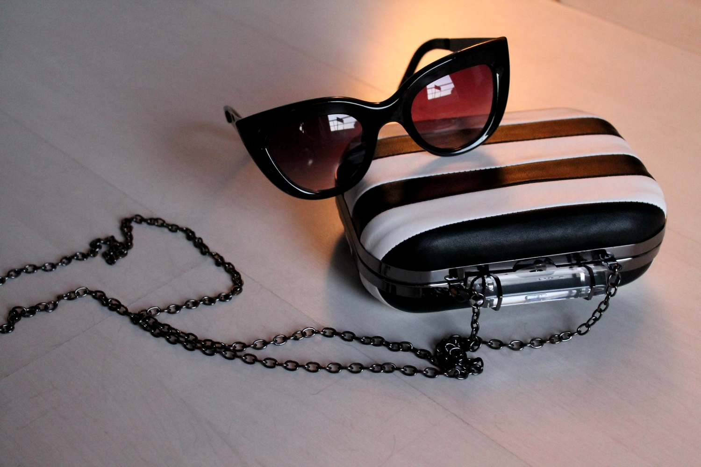 lunette de soleil cat eyes mango minaudiere noir blanc primark