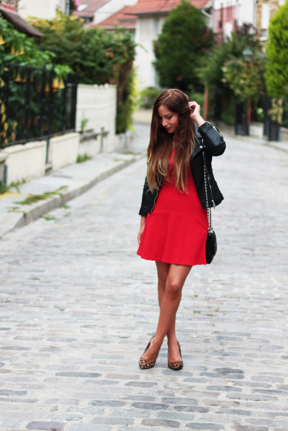 robe rouge zara patineuse veste en cuir biker perfecto. Black Bedroom Furniture Sets. Home Design Ideas