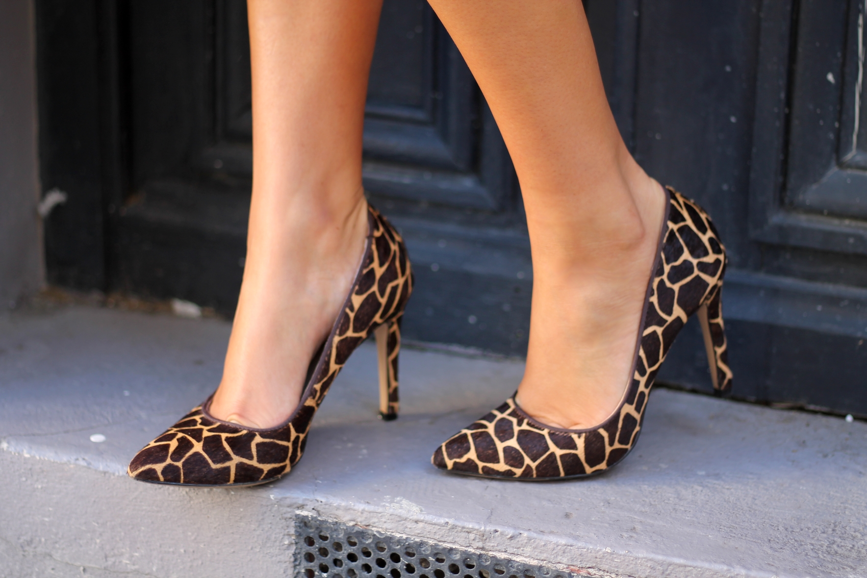 escarpins pointu imprimé animal girafe bata blog mode