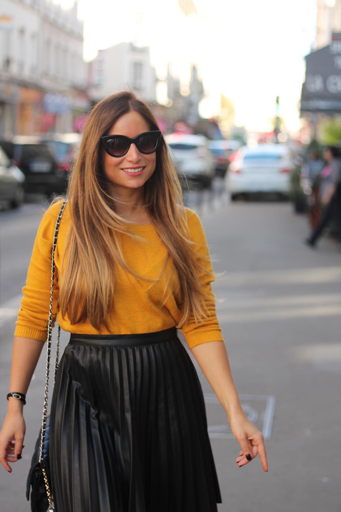 jupe en cuir plissée et sweet fashion blog mode