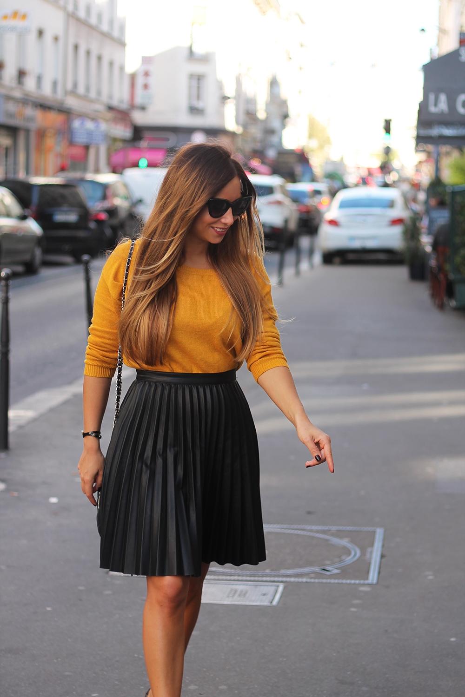 jupe midi plissé cuir blog mode fashion