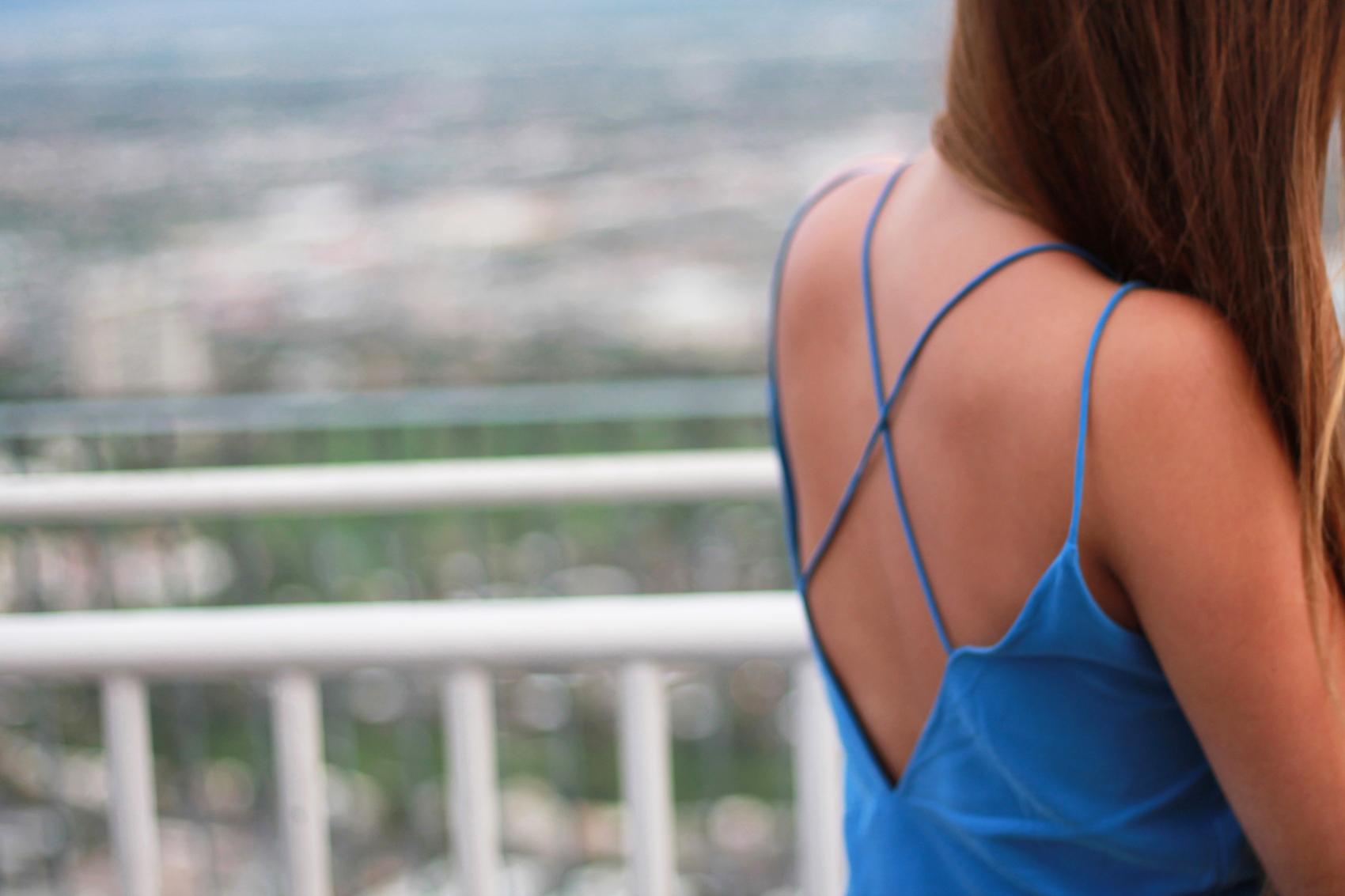 robe bleu zara dos nu fine bretelle