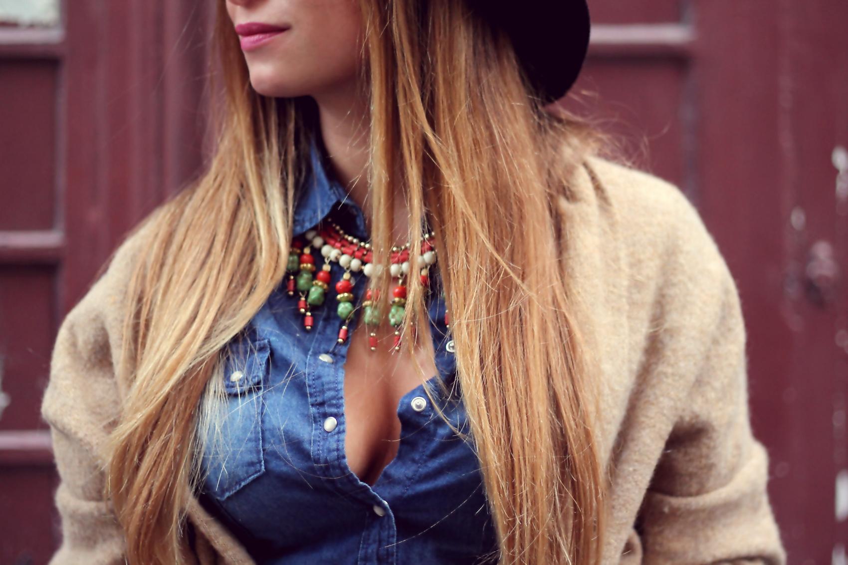 collier perle ethnique vintage vert orange