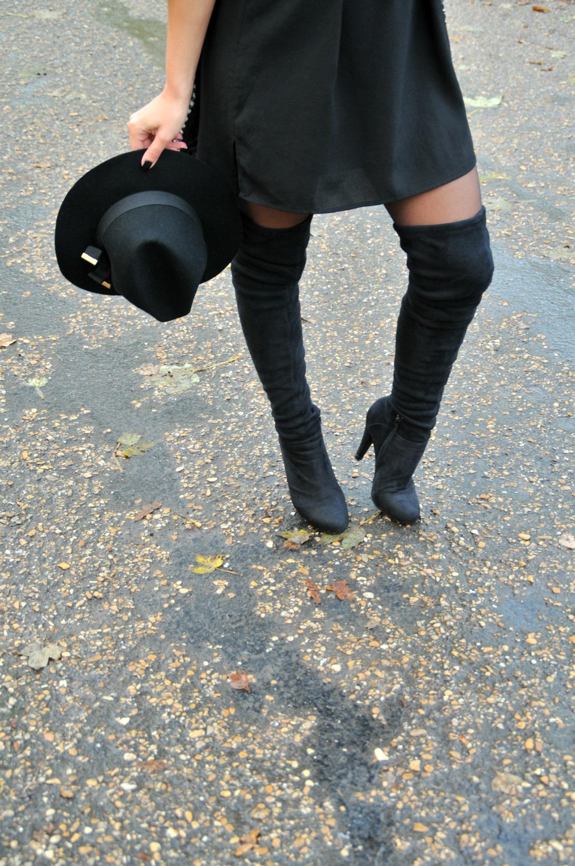 cuissardes stetch en daim à talon haut vintage blog mode over knee boots fashion blog