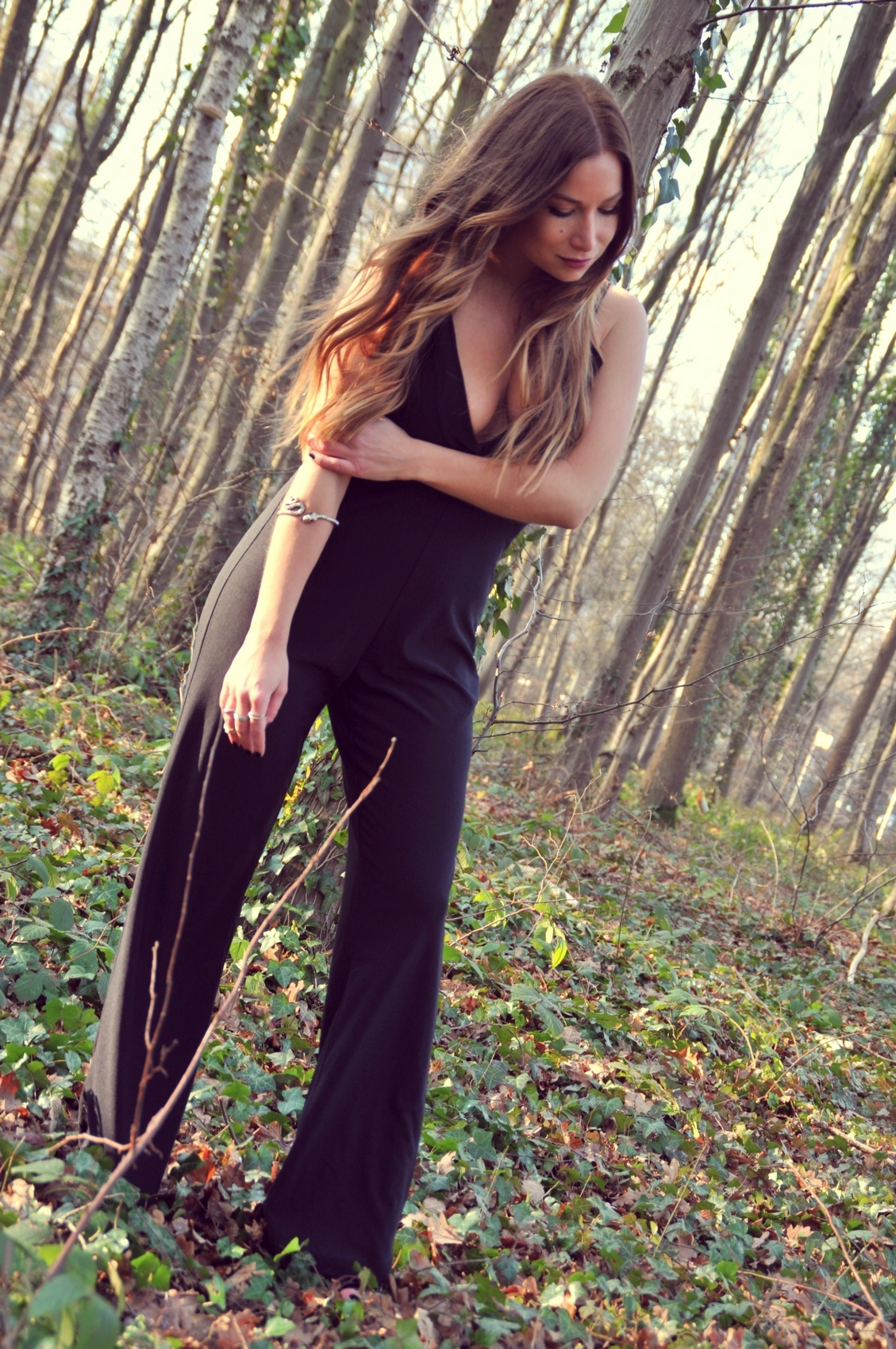 evening look with black palazzo pant jumpsuit missguided v neck