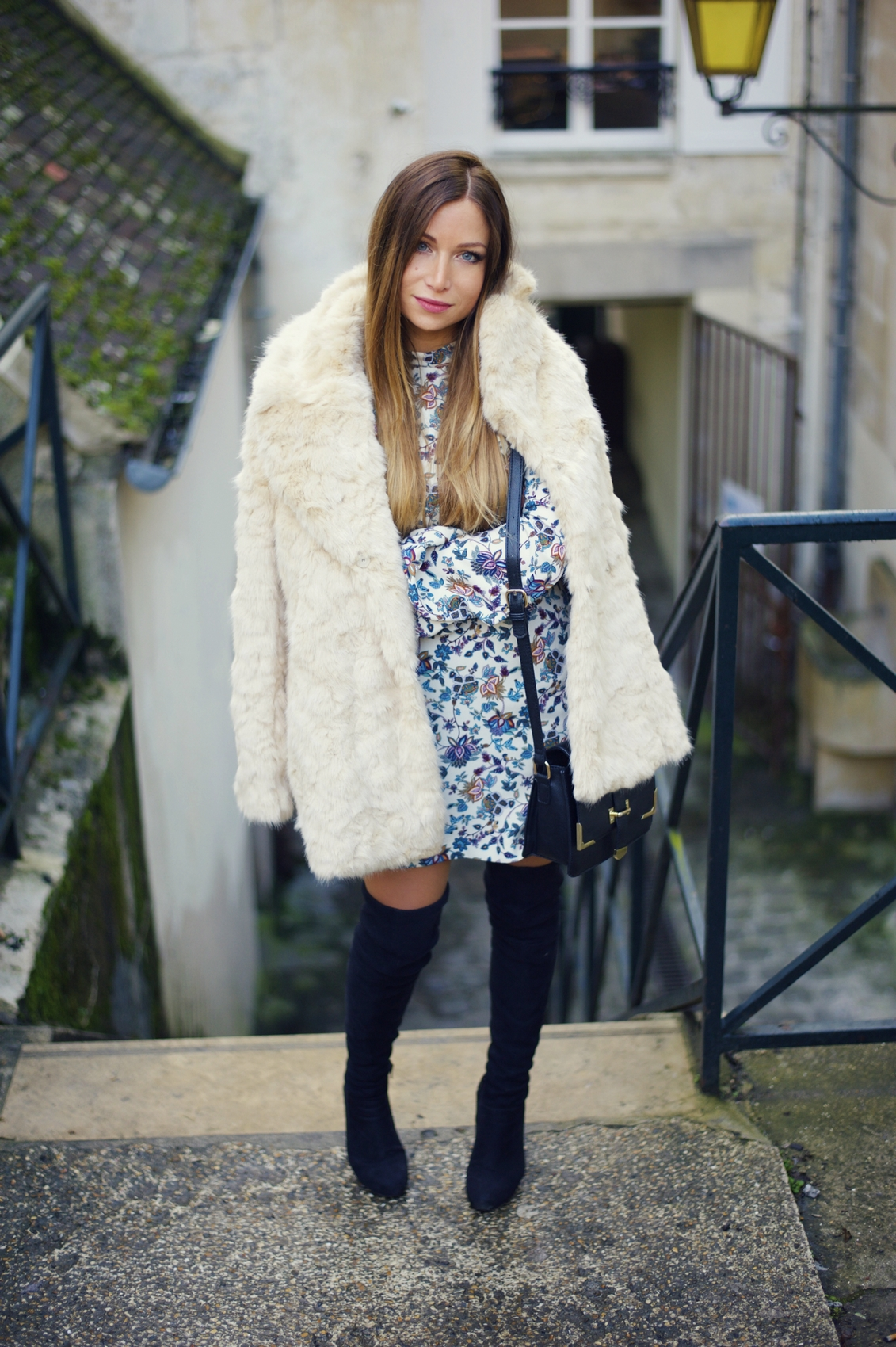 faux fur coat zara flower print dress outfit sixty retro vintage over knee boots