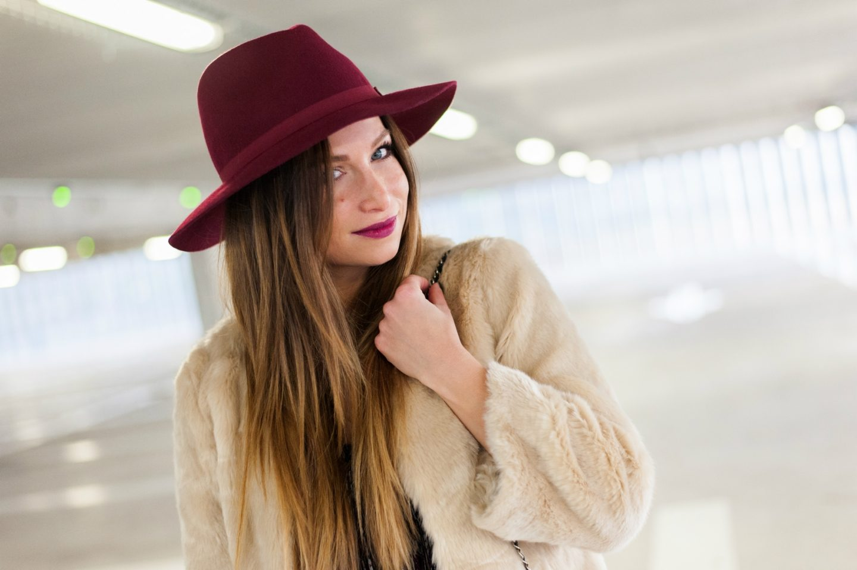 Burgundy crush & faux fur coat