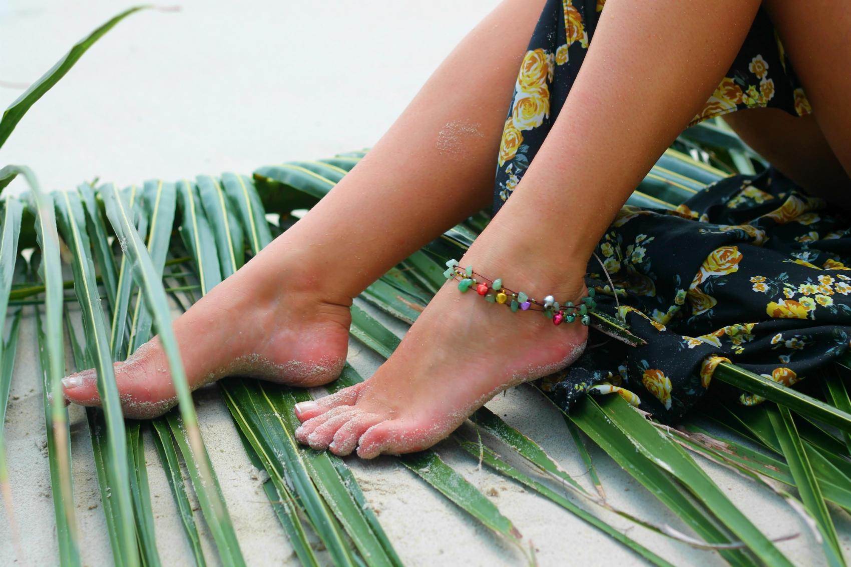 bracelet cheville pierre multicolor thailandais