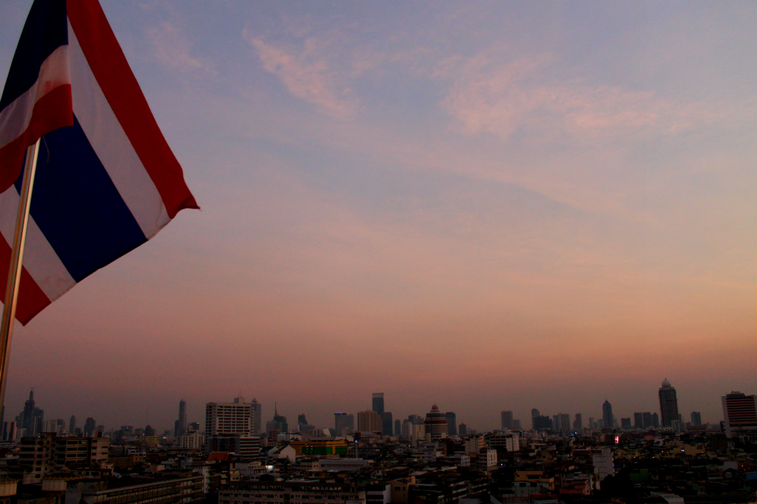 rooftop view of bangkok sunset