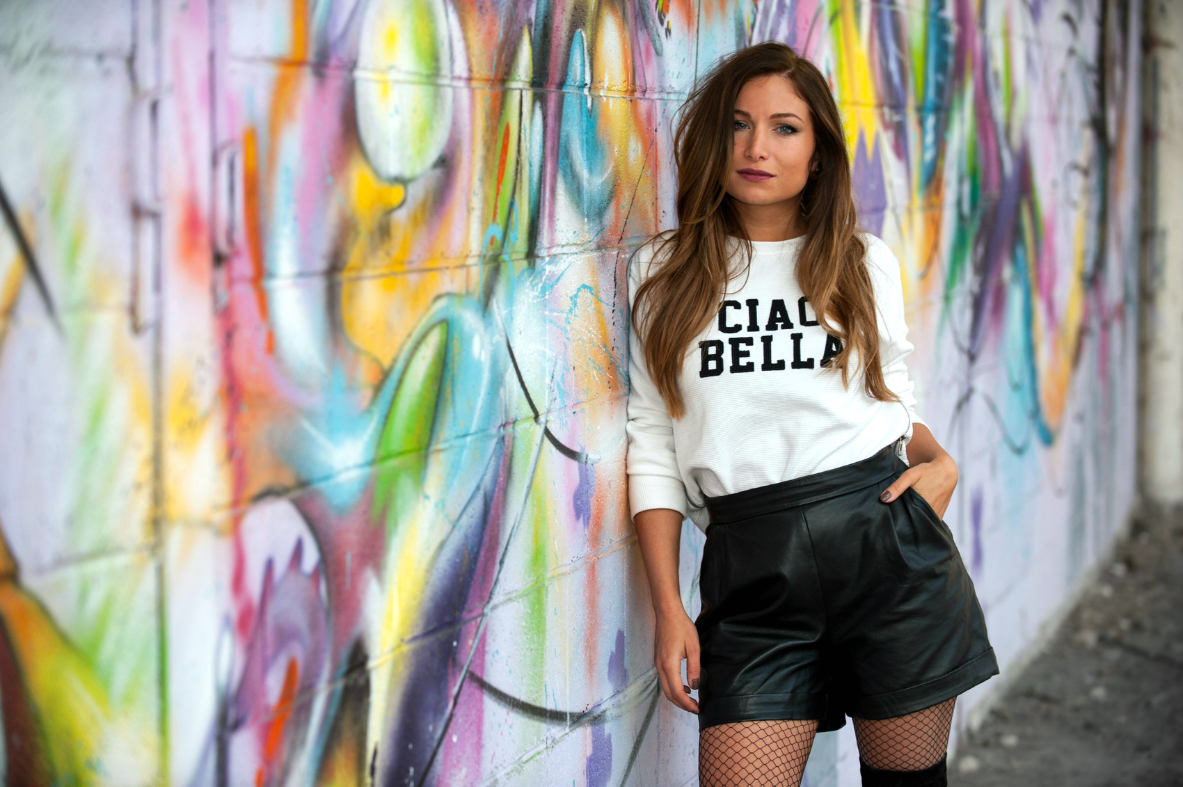 high waist leather black short white sweet ciao bella fashion blogger sreet style