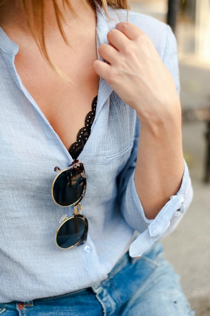 008ce6ad3a détails chemise bleu ciel zara lingerie dentelle lunettes de soleil cat's  eyes l'usine à lunettes