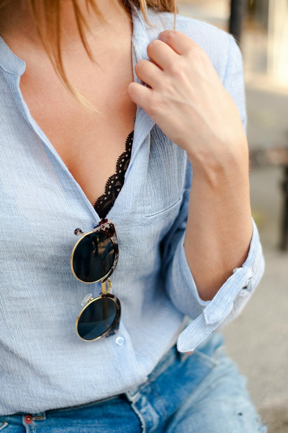 détails chemise bleu ciel zara lingerie dentelle lunettes de soleil cat's eyes l'usine à lunettes
