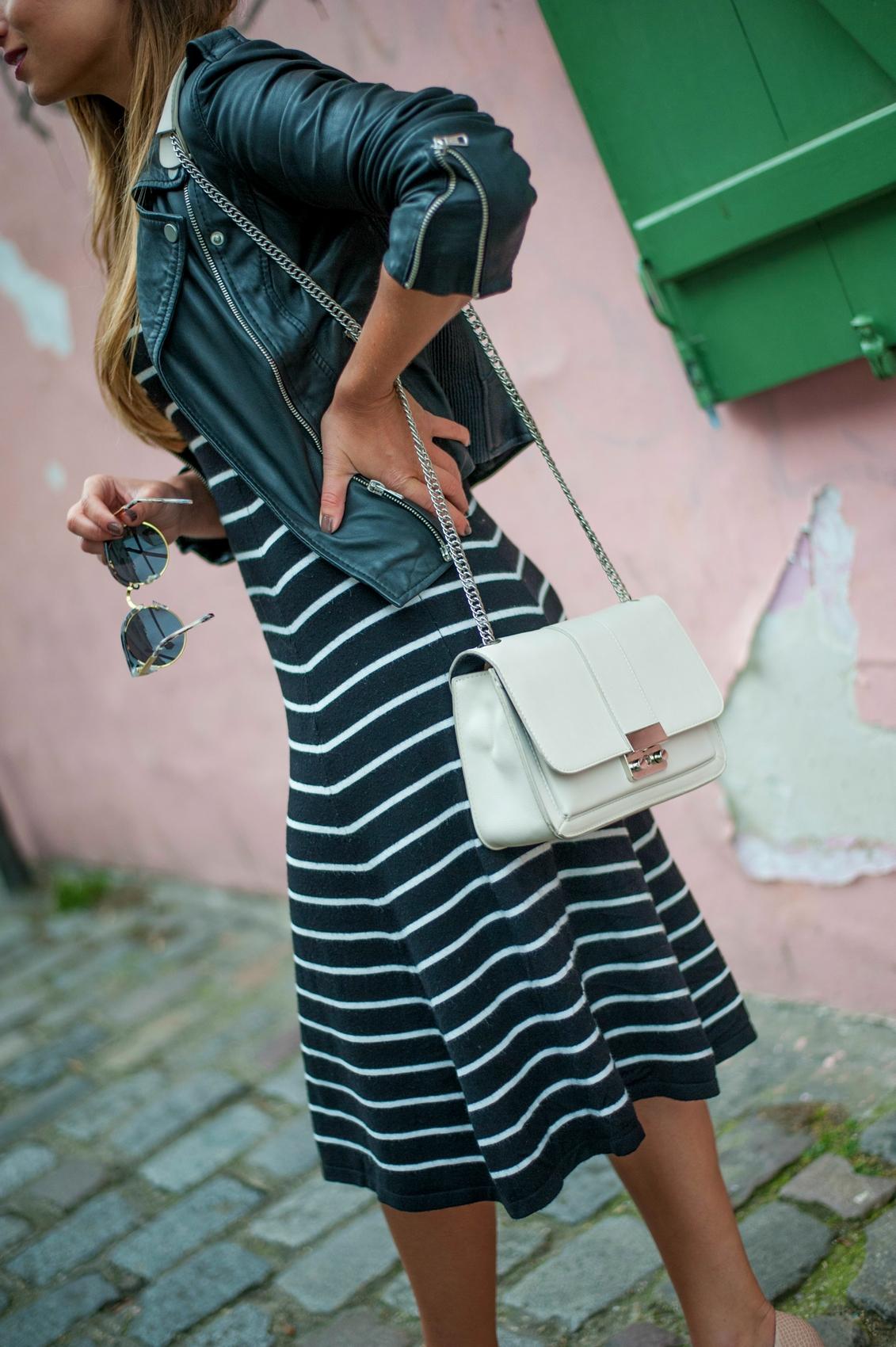 robe vintage à rayures noir blanc
