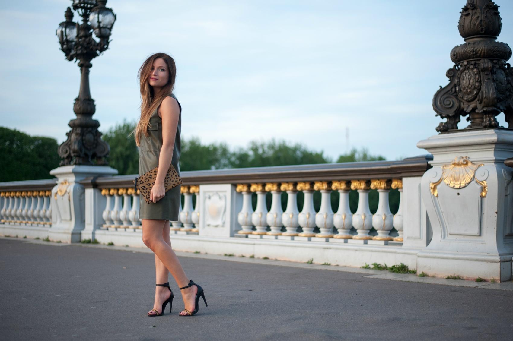 khaki leather dress and high heels