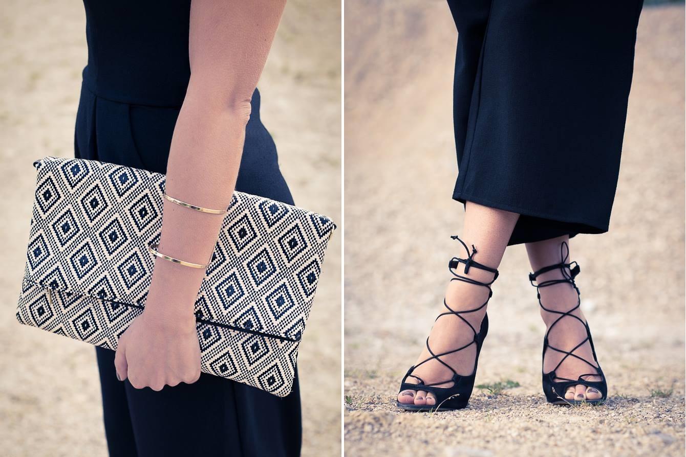 details pochette geometrique primark et sandales à lacets aldo