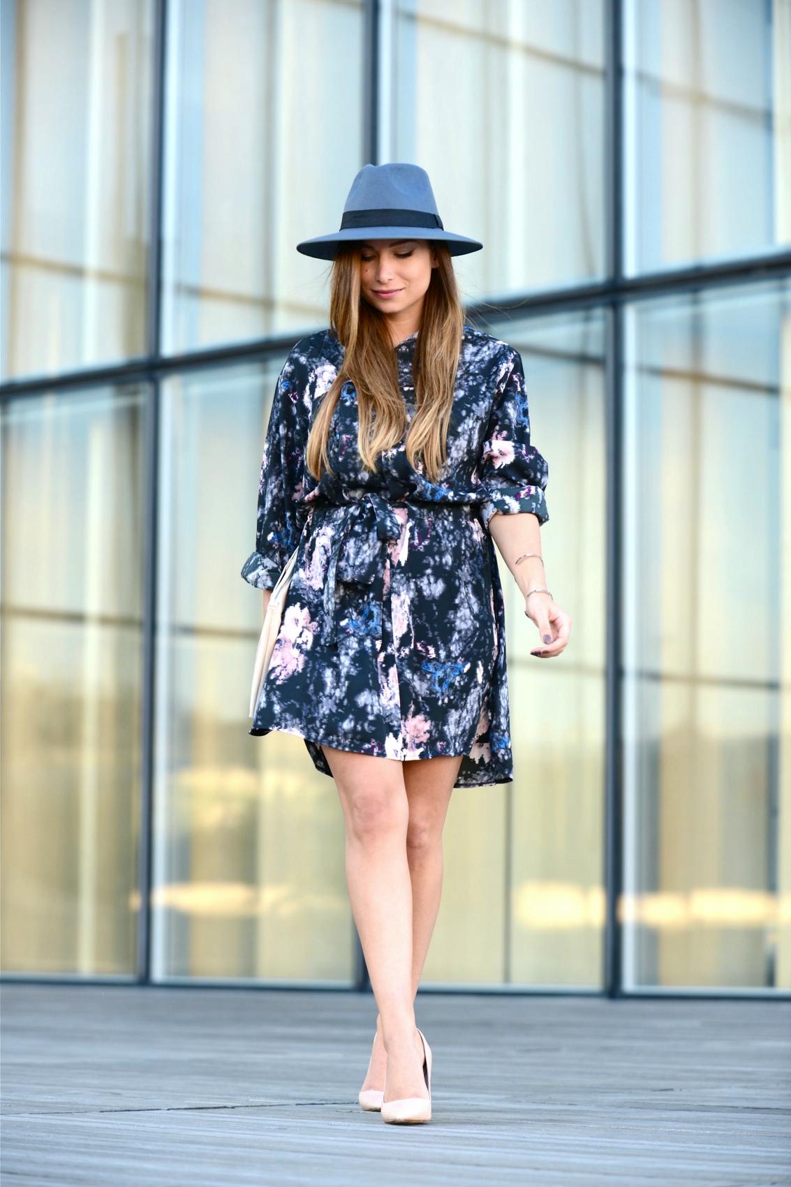 fedora hat boohoo arty dress millmanst nude high heels stiletto zara
