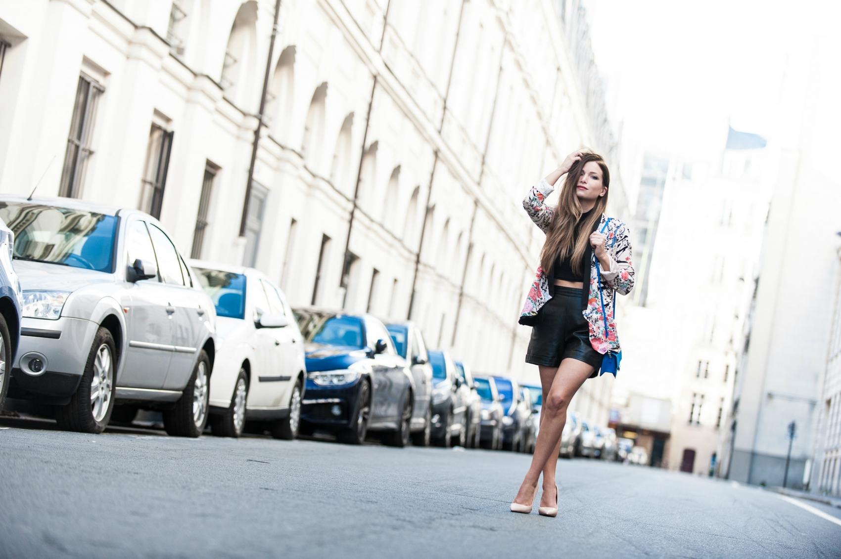 sheinside jacket leather high waist short crop top stiletto high heels