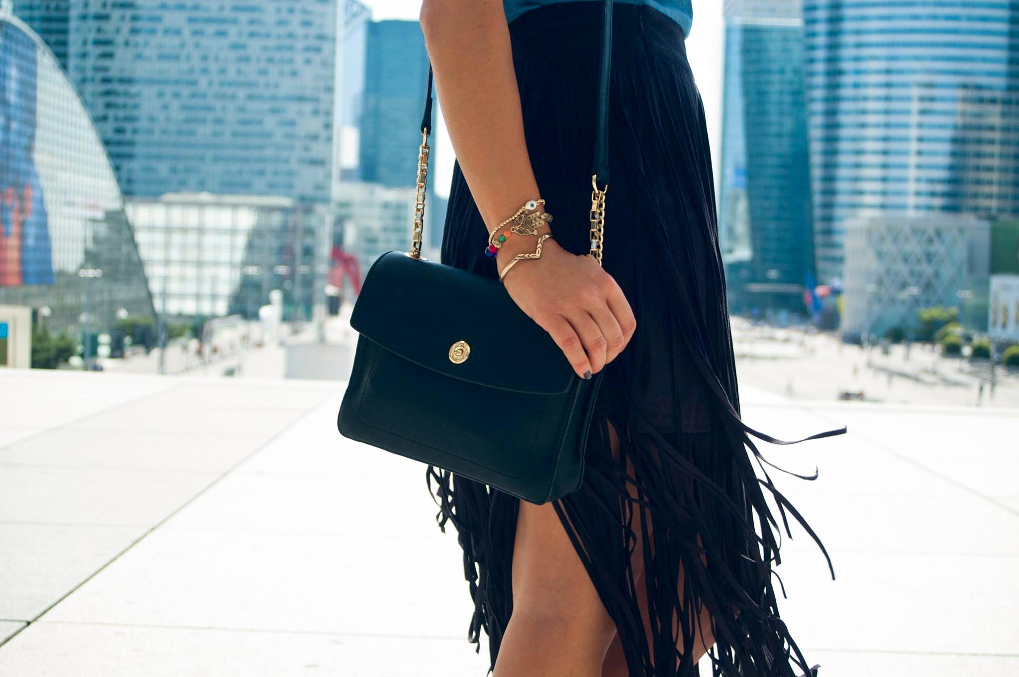 sac en cuir noir parfois nouvelle collection bracelet ethniques multicolor