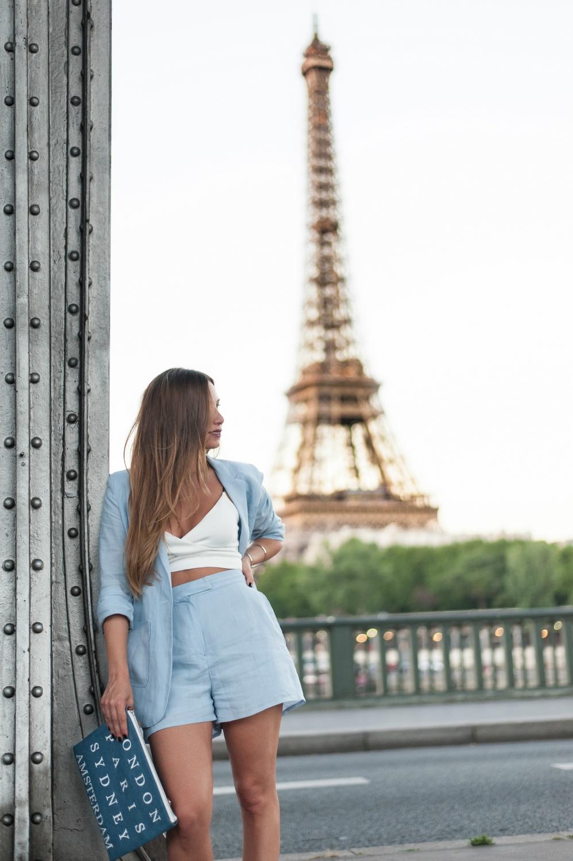 short et blazer en lin bleu ciel oversize tendance feminin masculin