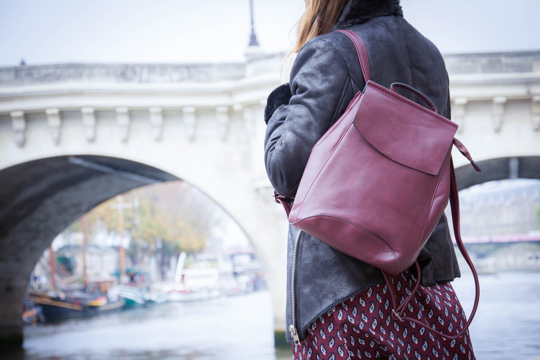 burgundy leather bagpack