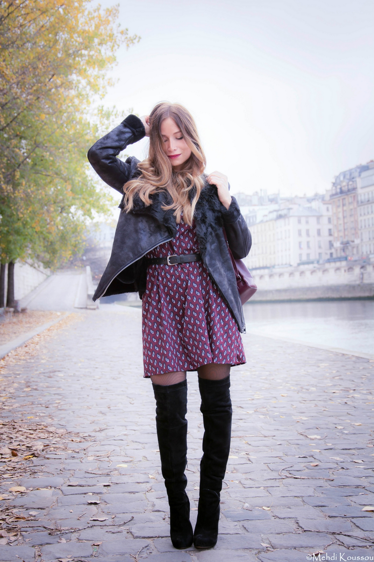 casual way to wear over the knees boots with boho dress and faux fur jacket