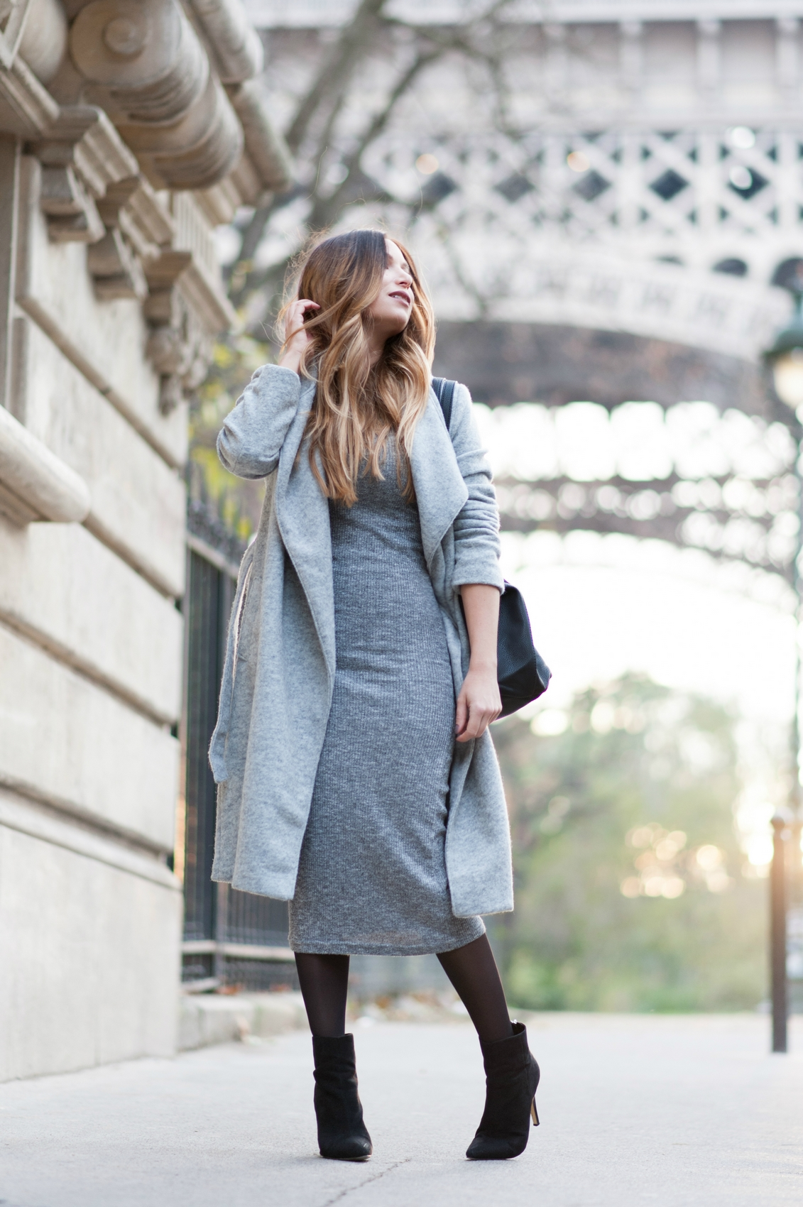 how to wear the grey midi knit dress