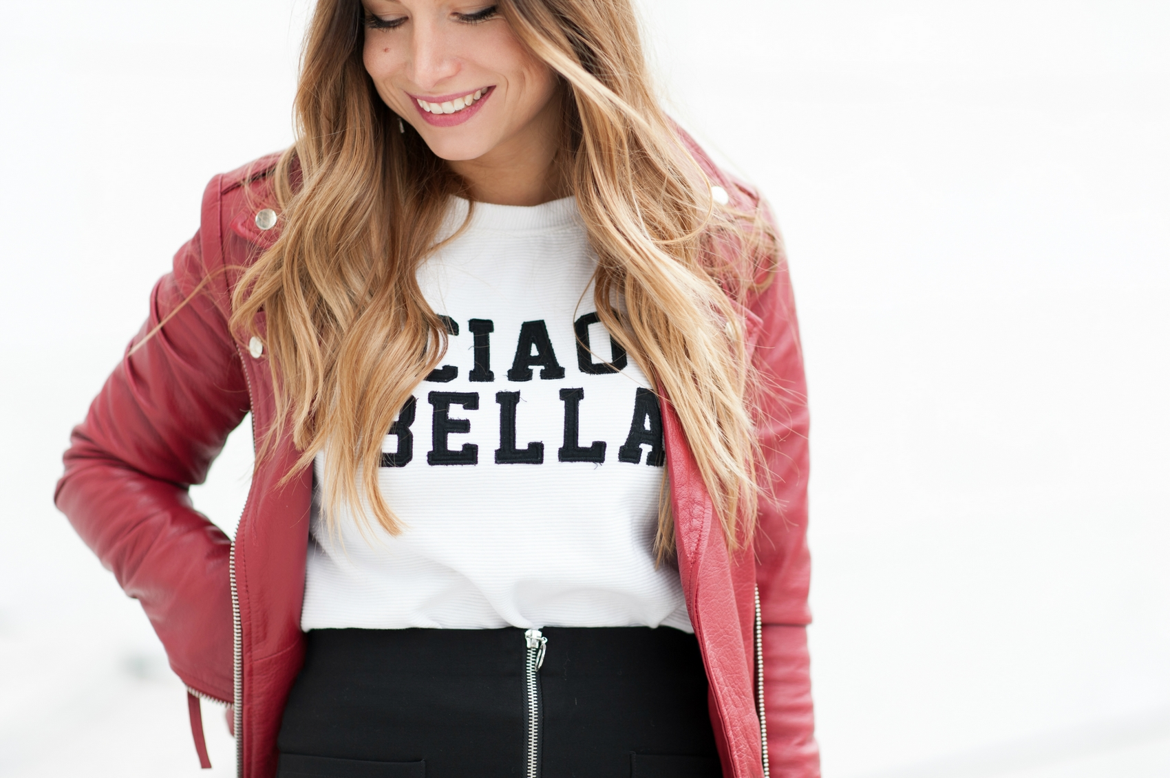 sweet ciao bella mango et perfecto en cuir rouge blog