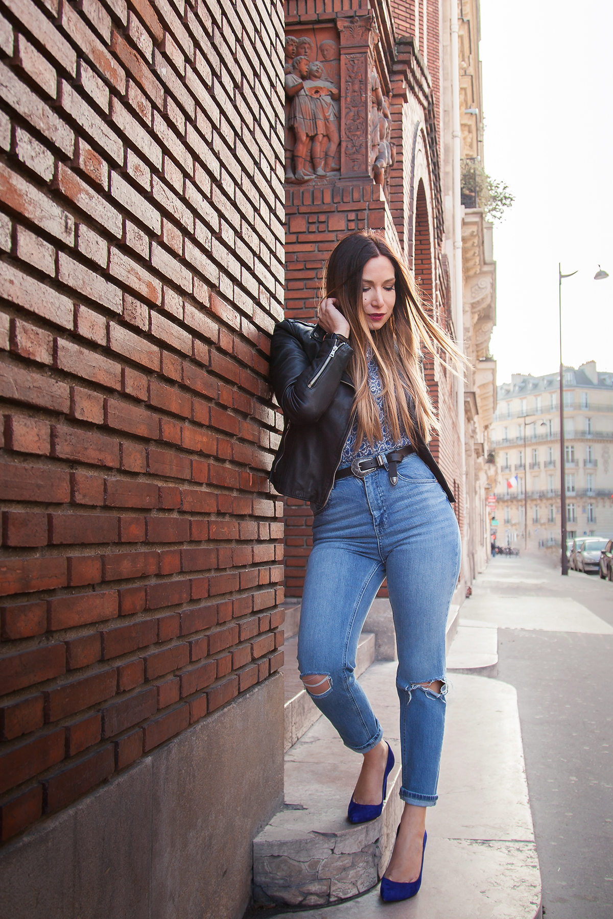asos mom jean and leather biker jacket fashion blog