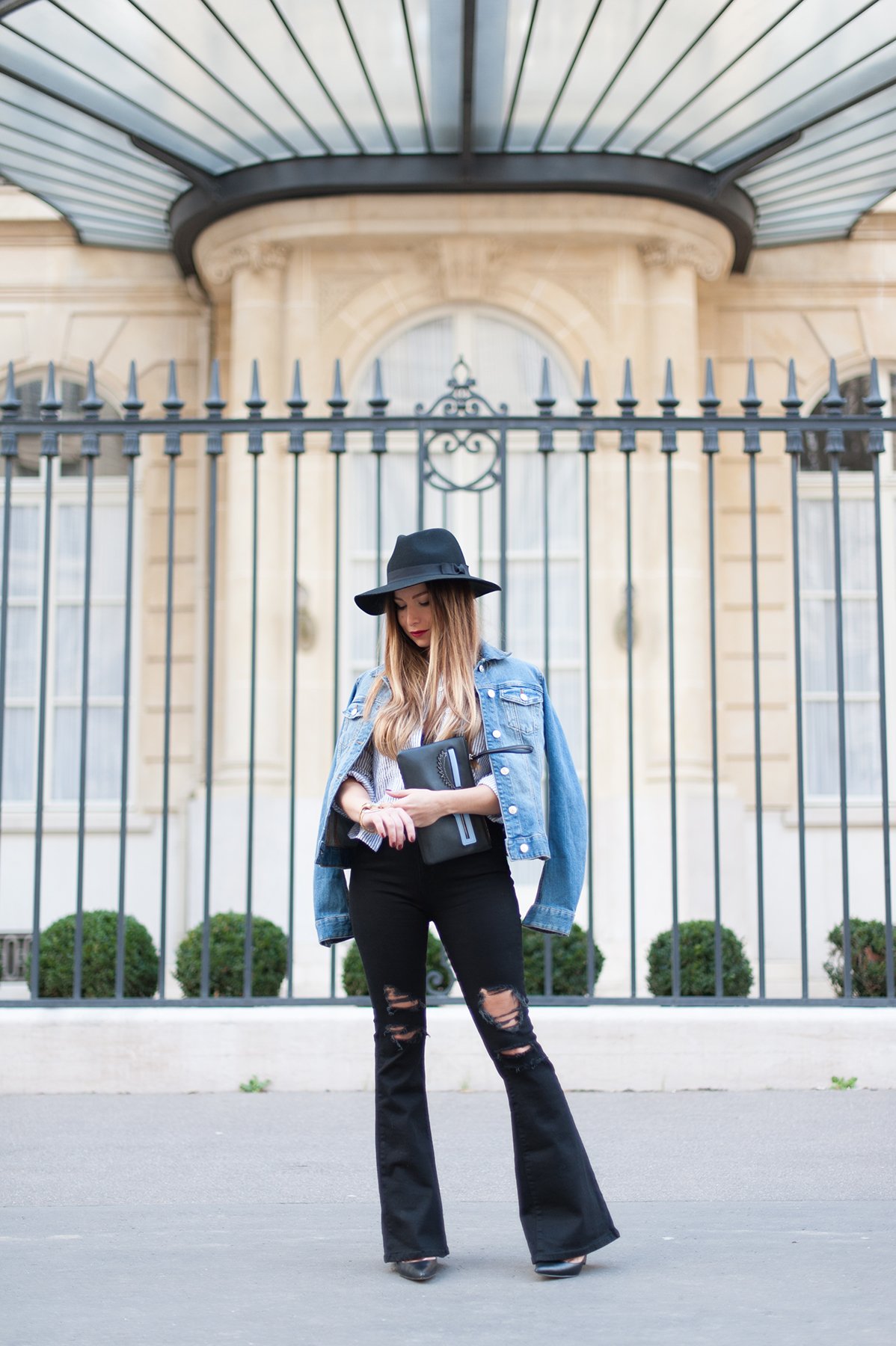 outfit with flare jean and denim jacket