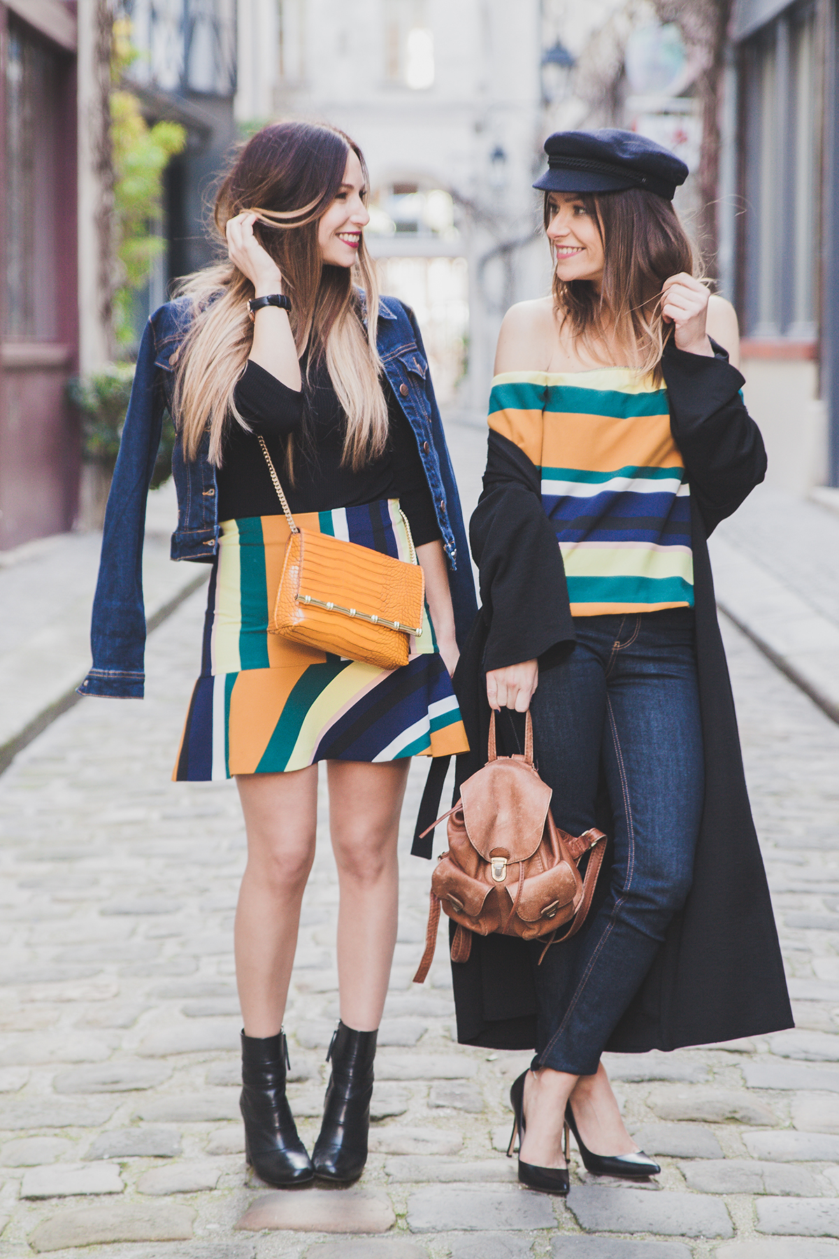 2 ways to wear stripe and colorfull outfit