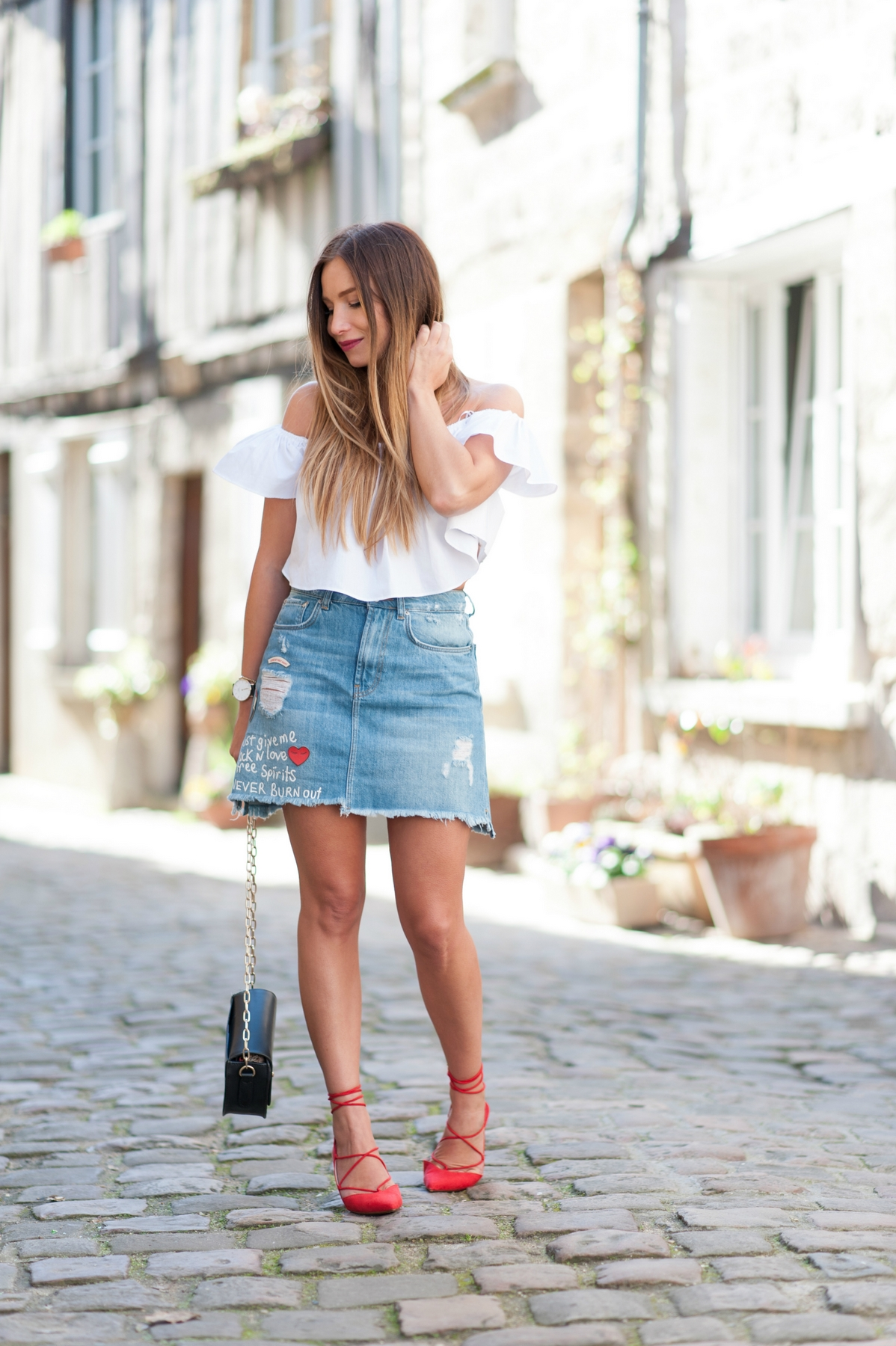 casual outfit with denim and high heels