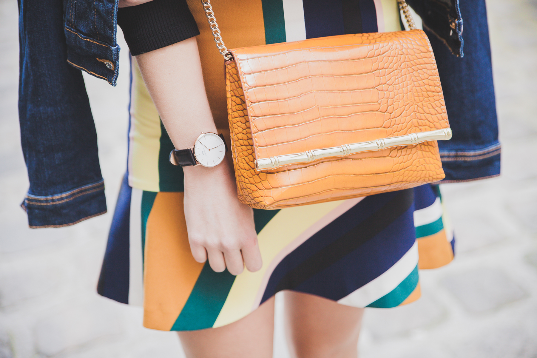 sac en cuir jaune croco zara jupe stripes skirt colorfull daniel wellington watch