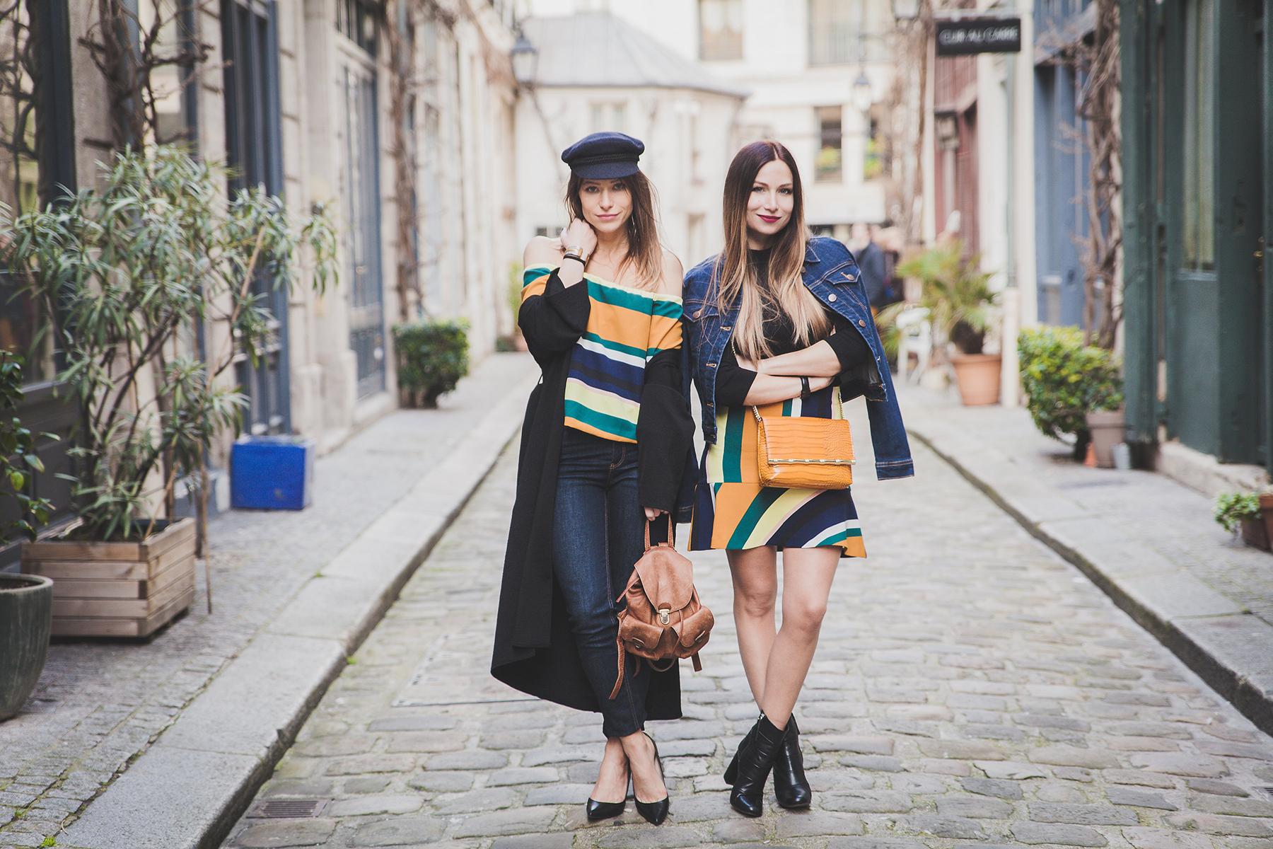 sister matching look color block stripe and denim