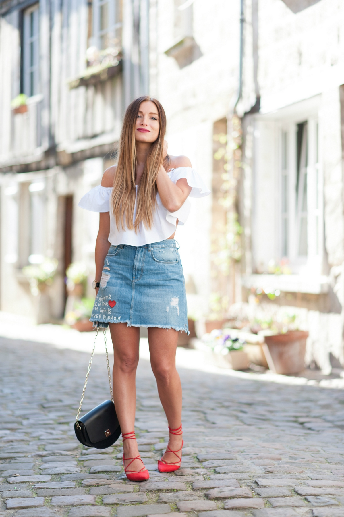 spring outfit denim skirt and white bardot top