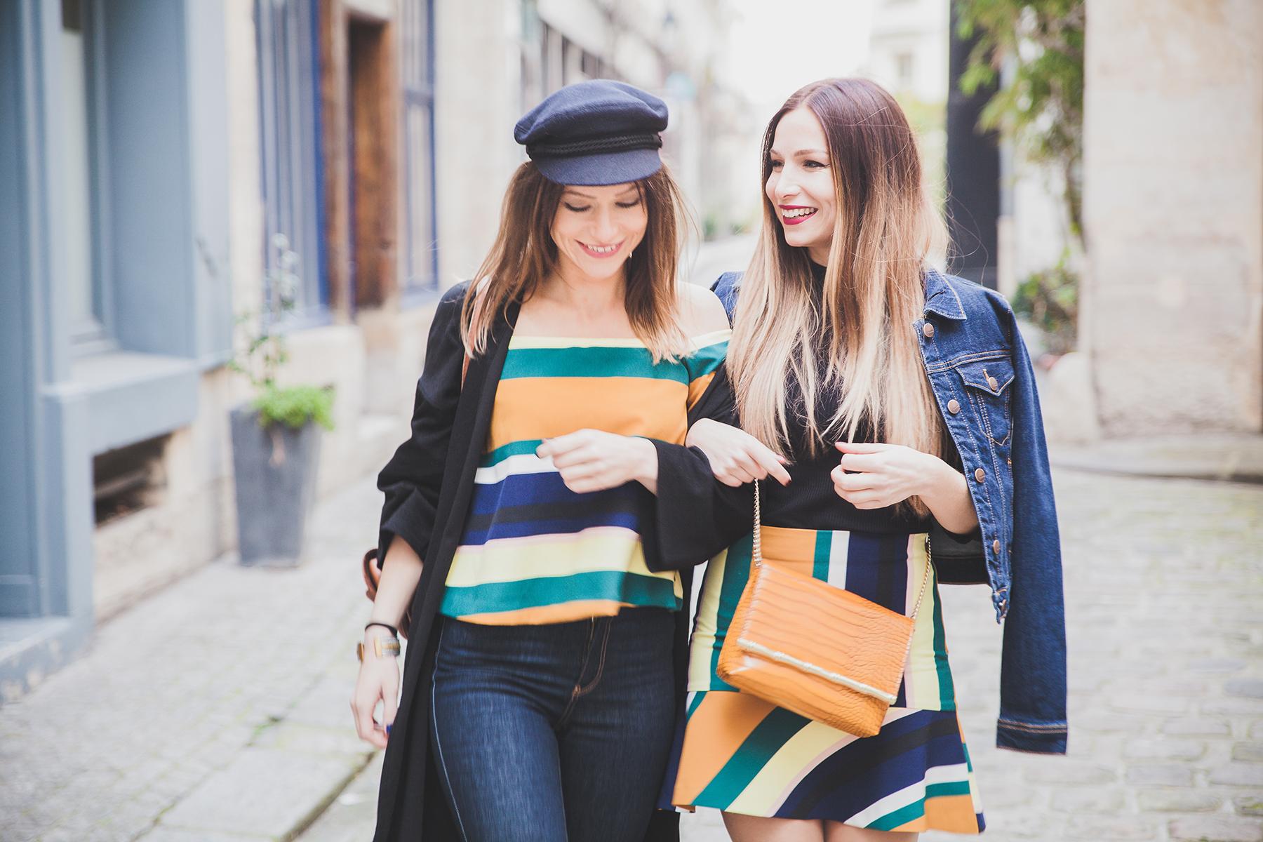 top bardot coloré zara mini jupe trapeze blog mode