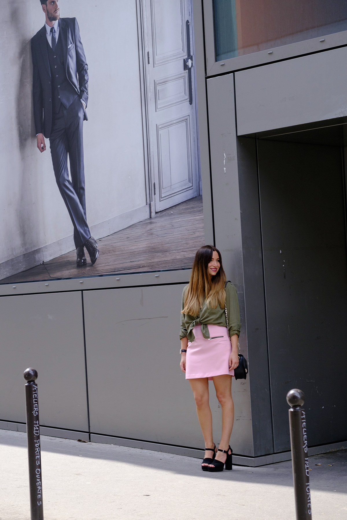 pink skirt and kaki military jacket fashion blog