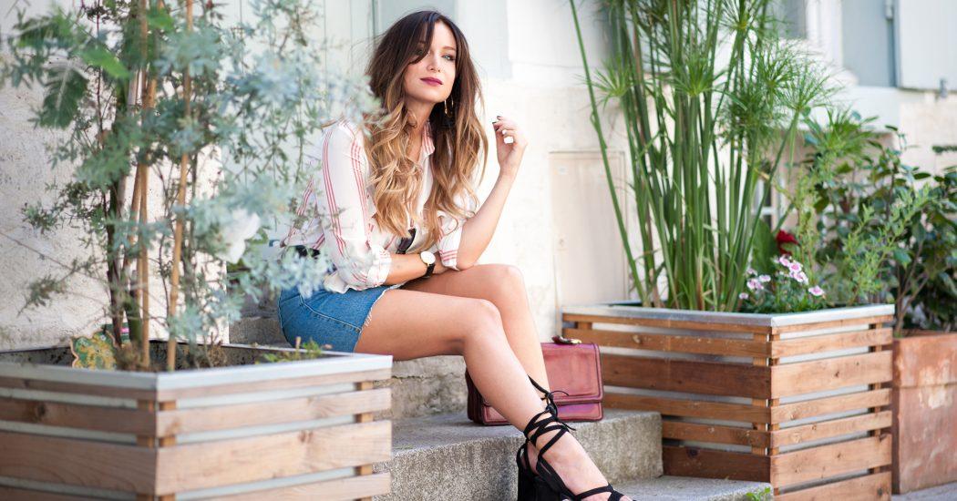 stripe shirt and denim look vintage fashion blog mode