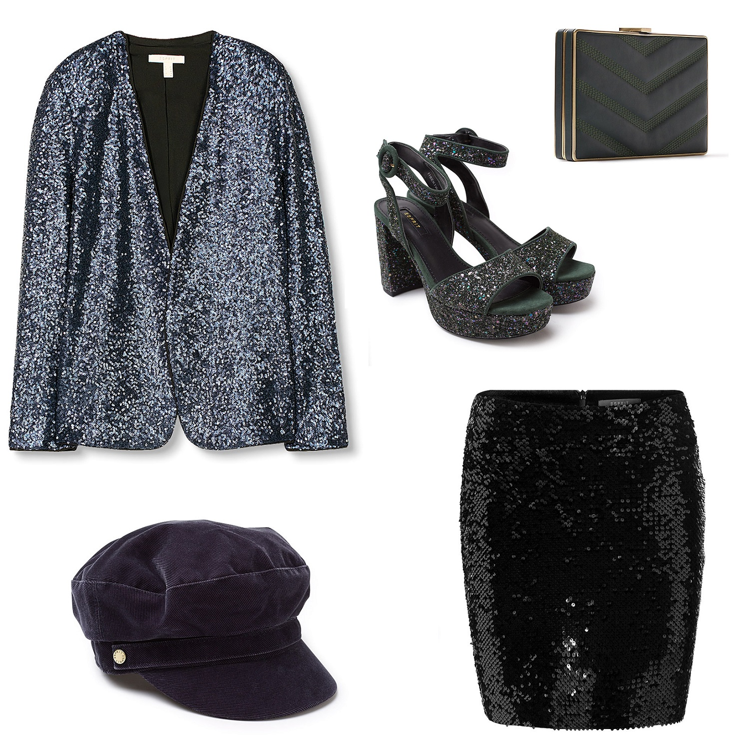 selection-shopping-veste-a-paillettes-sandales-jupe-sequins-casquette-beret